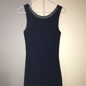 Navy blue dress with embellished collar